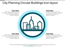 City Planning Circular Buildings Icon Layout