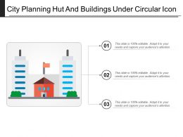 City Planning Hut And Buildings Under Circular Icon