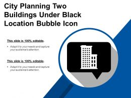 City Planning Two Buildings Under Black Location Bubble Icon
