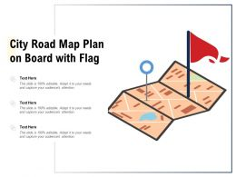 City Road Map Plan On Board With Flag