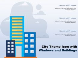 City Theme Icon With Windows And Buildings