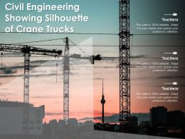 Civil Engineering Showing Silhouette Of Crane Trucks