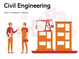 Civil Engineering Silhouette Displaying Construction Driller Work Cranes