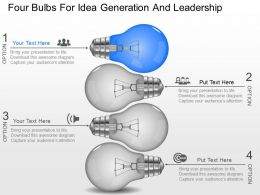 cj Four Bulbs For Idea Generation And Leadership Powerpoint Template