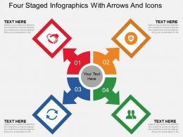 Cj Four Staged Infographics With Arrows And Icons Flat Powerpoint Design