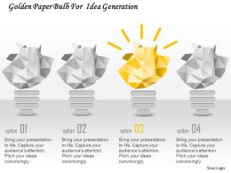Cj Golden Paper Bulb For Idea Generation Powerpoint Template
