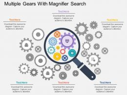 cj Multiple Gears With Magnifier Search Flat Powerpoint Design
