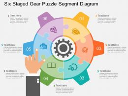 cj Six Staged Gear Puzzle Segment Diagram Flat Powerpoint Design