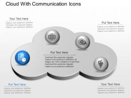 ck Cloud With Communication Icons Powerpoint Template