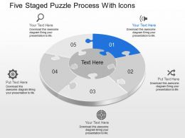 Ck Five Staged Puzzle Process With Icons Powerpoint Template