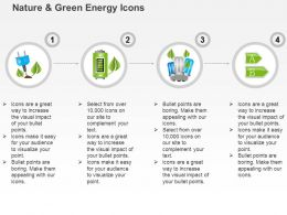Ck Four Linear Icons Of Green Energy With Battery Cfl And Plug Symbols Ppt Icons Graphics