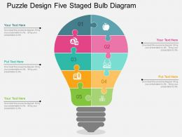 ck Puzzle Design Five Staged Bulb Diagram Flat Powerpoint Design
