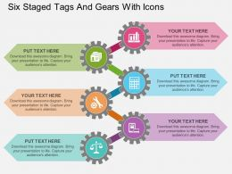 ck Six Staged Tags And Gears With Icons Flat Powerpoint Design