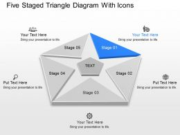 Cl Five Staged Triangle Diagram With Icons Powerpoint Template