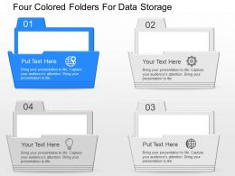 cl Four Colored Folders For Data Storage Powerpoint Template