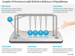 Cl Graphic Of Newtons Cradle With Five Balls Law Of Equilibrium Powerpoint Template
