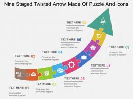 Cl Nine Staged Twisted Arrow Made Of Puzzle And Icons Flat Powerpoint Design