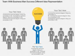 cl_team_with_business_man_success_different_idea_representation_flat_powerpoint_design_Slide01