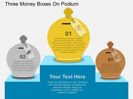cl Three Money Boxes On Podium Flat Powerpoint Design
