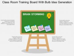 class_room_training_board_with_bulb_idea_generation_flat_powerpoint_design_Slide01