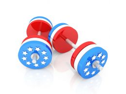 Classic Dumbbells With American Flag Shows Weight Lifting Stock Photo