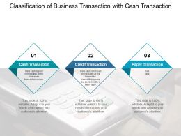 Classification Of Business Transaction With Cash Transaction