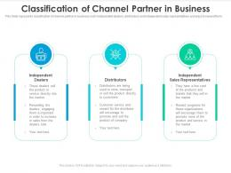 Classification Of Channel Partner In Business