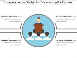 Classroom Lecture Teacher And Students Icon For Education