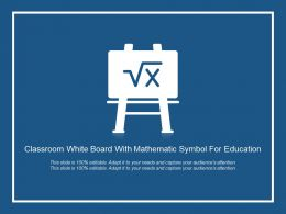 Classroom White Board With Mathematic Symbol For Education