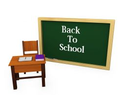 Classroom With Chair And Table Shows Back To School Concept Stock Photo
