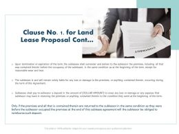 Clause No 1 For Land Lease Proposal Cont L1455 Ppt Powerpoint Presentation Deck