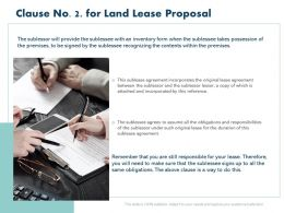 Clause No 2 For Land Lease Proposal Ppt Powerpoint Presentation Show Ideas