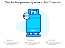 Clean Bio Fuel Generated By Waste To Fuel Conversion