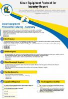 Clean Equipment Protocol For Industry Report Presentation Report Infographic PPT PDF Document