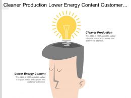 Cleaner Production Lower Energy Content Customer Operations Servicing