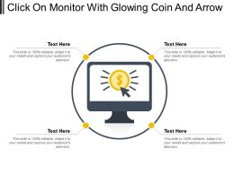 Click On Monitor With Glowing Coin And Arrow