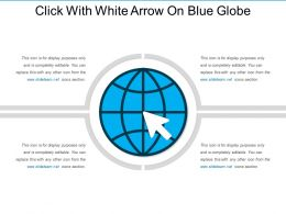 Click With White Arrow On Blue Globe
