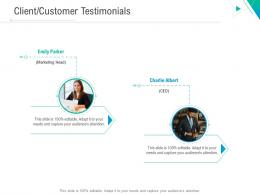 Client Customer Testimonials Business Outline Ppt Background