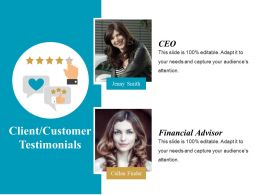 Client Customer Testimonials Powerpoint Slide Background Image