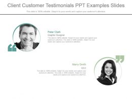 Client Customer Testimonials Ppt Examples Slides