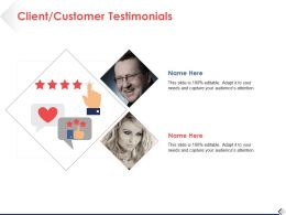 Client Customer Testimonials Ppt Professional Background Images