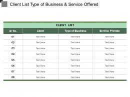 Client List Type Of Business And Service Offered