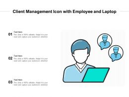 Client Management Icon With Employee And Laptop