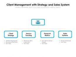 Client Management With Strategy And Sales System