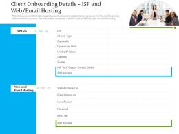 Client Onboarding Details Isp And Web Email Hosting Ppt Icons