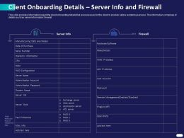 Client Onboarding Details Server Info And Firewall Ppt Powerpoint Presentation Images
