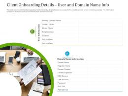 Client Onboarding Details User And Domain Name Info Ppt Formats