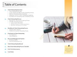Client Onboarding Process Automation Table Of Contents Ppt Powerpoint Images