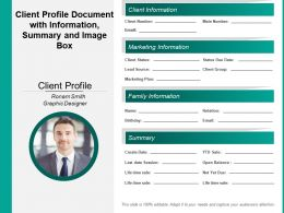 Client Profile Document With Information Summary And Image Box