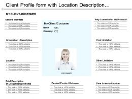 Client Profile Form With Location Description Interests